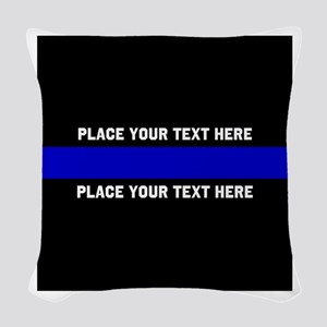 Thin Blue Line Customized Woven Throw Pillow