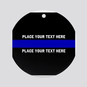 Thin Blue Line Customized Round Ornament