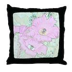 Pink Cactus Flowers Throw Pillow