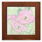 Pink Cactus Flowers Framed Tile