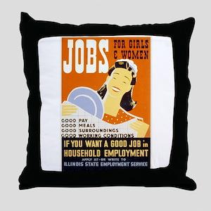 Jobs For Girls WPA Poster Throw Pillow