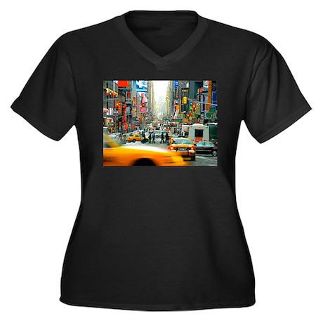Times Square: No. 10 Women's Plus Size V-Neck Dark