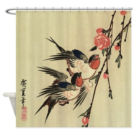 Hiroshige Swallows and Peach Blossoms Shower Curta