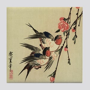 Hiroshige Swallows and Peach Blossoms Tile Coaster