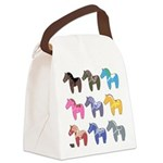9 Dala Horses Canvas Lunch Bag