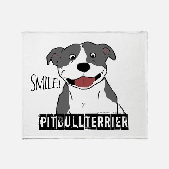 Smiling Pit Bull Blue Throw Blanket