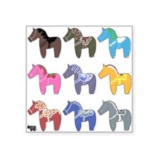9 Dala Horses Sticker