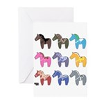 9 Dala Horses Greeting Cards