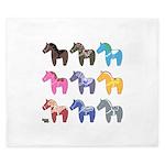 9 Dala Horses King Duvet