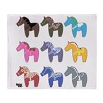 9 Dala Horses Throw Blanket