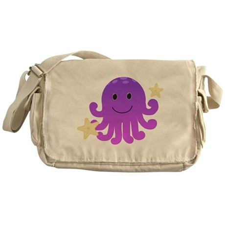 Purple Octopus Messenger Bag