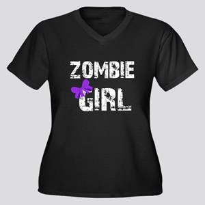 Zombie Girl Women's Plus Size V-Neck Dark T-Shirt