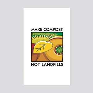 Make Compost, Not Landfills Rectangle Sticker