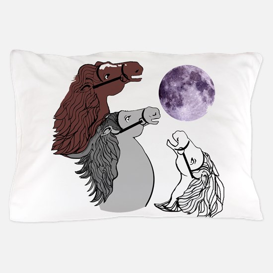 3 Horses Neighing at the Moon Pillow Case