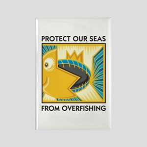 Protect Our Seas From Overfishing Rectangle Magnet