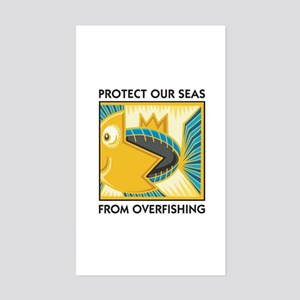 Protect Our Seas From Overfishing Sticker (Rectang