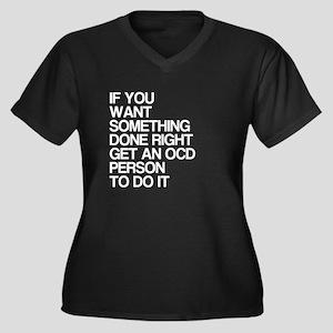 Funny, OCD, Women's Plus Size V-Neck Dark T-Shirt