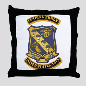 US - NAVY - Leaping Frogs Throw Pillow