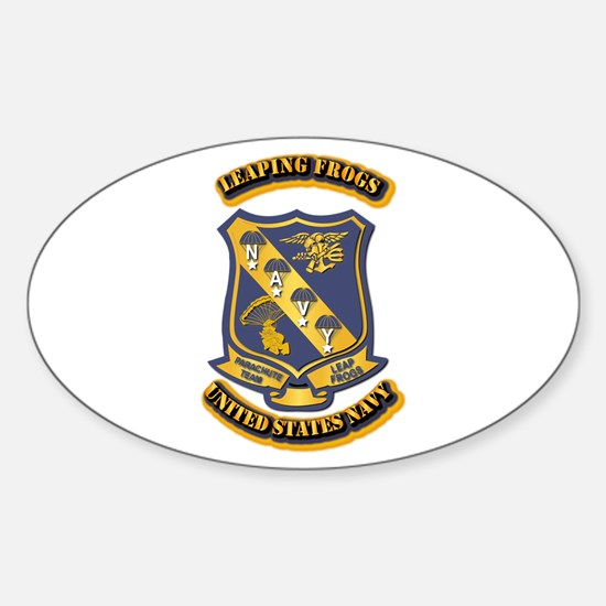 US - NAVY - Leaping Frogs Sticker (Oval)