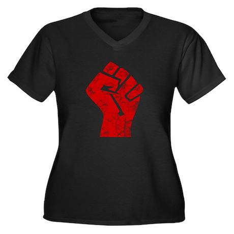 Revolution, Fist, Women's Plus Size V-Neck Dark T-
