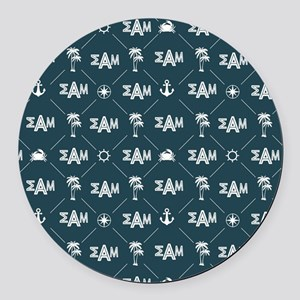 Sigma Alpha Mu Blue Pattern Round Car Magnet