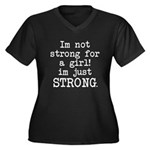 Just strong Women's Plus Size V-Neck Dark T-Shirt