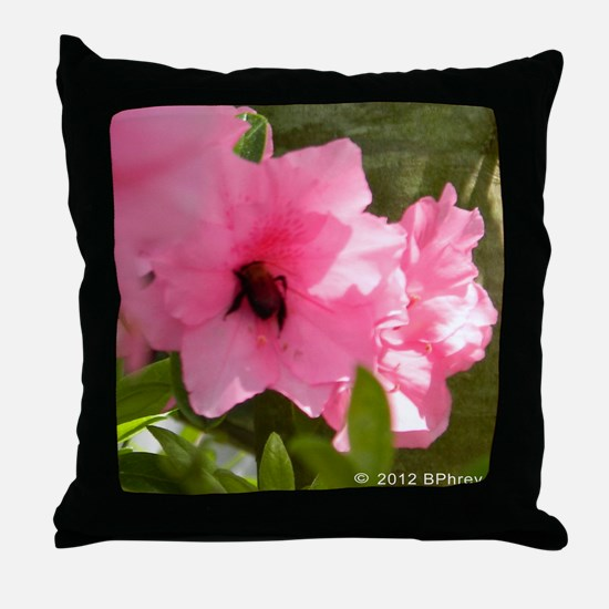 Honey Bee Azalea Throw Pillow