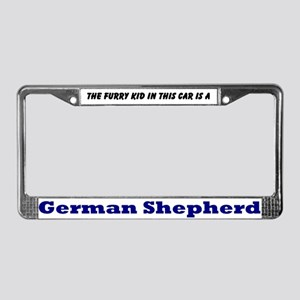 German Shepherd Furry Kid License Plate Frame