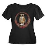 Celtic Owl Women's Plus Size Scoop Neck Dark T-Shi