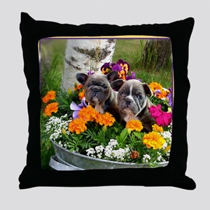 French bulldog puppies Throw Pillow