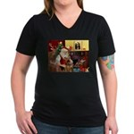 Santas Airedale Women's V-Neck Dark T-Shirt