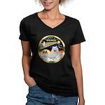 XmasDove/Am Eskimo Women's V-Neck Dark T-Shirt