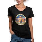 XmasStar/Cattle Dog Women's V-Neck Dark T-Shirt