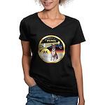 XmasDove/Basenji #2 Women's V-Neck Dark T-Shirt