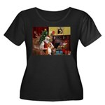 Santa's Basenji (#2) Women's Plus Size Scoop Neck