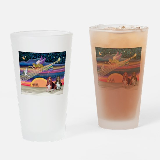 Xmas Star & 2 Bassets Drinking Glass