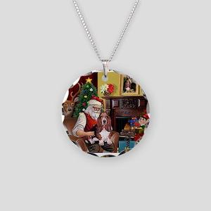 Santa's Basset Hound Necklace Circle Charm