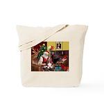 Santa's Basset Hound Tote Bag