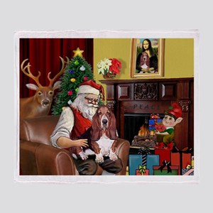 Santa's Basset Hound Throw Blanket