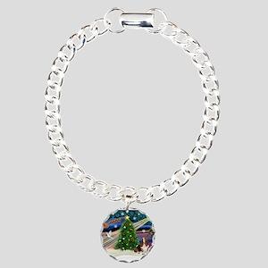 Xmas Magic - Basset Charm Bracelet, One Charm