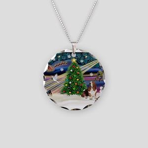 Xmas Magic - Basset Necklace Circle Charm