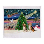 Xmas Magic & Beagle pair Throw Blanket