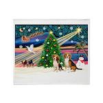 Xmas Magic & Beagle pair Throw Blanket