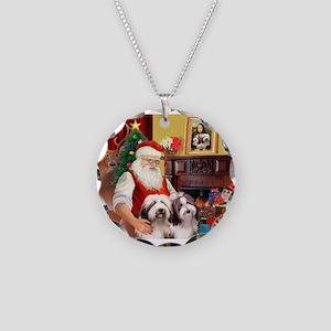 Santa's Beardie pair Necklace Circle Charm