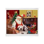 Santa's Beardie pair Throw Blanket