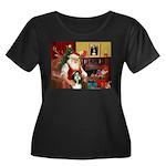Santa's Bearded Collie Women's Plus Size Scoop Nec