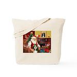 Santa's Bearded Collie Tote Bag
