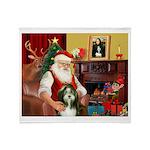 Santa's Bearded Collie Throw Blanket