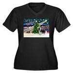 Xmas Magic & Beardie Women's Plus Size V-Neck Dark