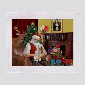 Santa's Bedlington Throw Blanket